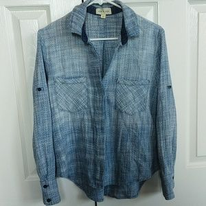Cloth and stone texture button up ombre blue shirt